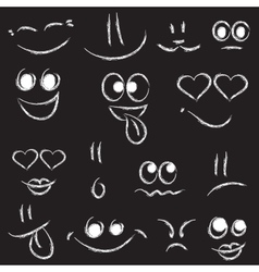 Sketches of smiley faces on black background vector