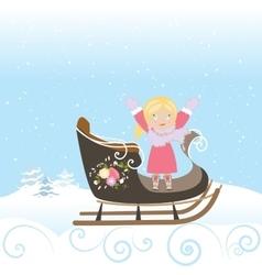 Sled Girl Child Smile Christmas Winter Snowflake vector image