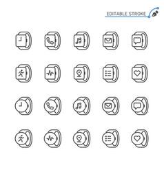 smartwatch line icons editable stroke vector image