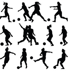 Soccer women silhouette girl player vector