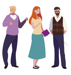 Teachers group avatars characters vector