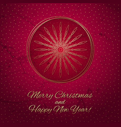 This is a red and gold christmas card vector