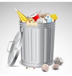 Trash Bin full of Garbage vector