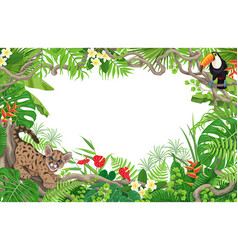 tropical background with puma and toucan vector image