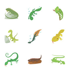 types of reptile icons set cartoon style vector image
