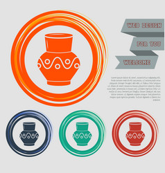 vase amphora icon on the red blue green orange vector image