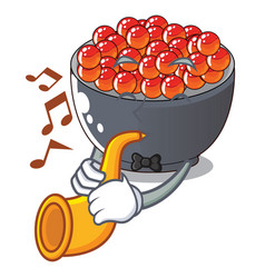 With trumpet salmon roe character ready to eat vector
