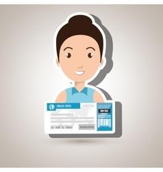 Woman ticket travel icon vector