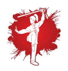 woman with sword action kung fu pose vector image