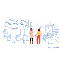 Women hairdressers near armchair modern beauty vector