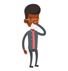 young african-american sick man sneezing vector image