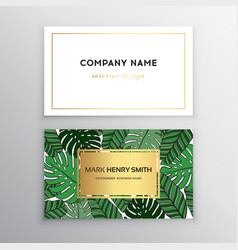business cards gold design tropical leaf vector image vector image
