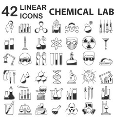 chemistry icons in linear style vector image