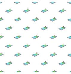 Golf course on phone pattern cartoon style vector
