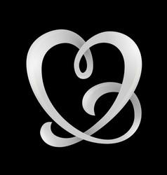 heart shaped ribbon vector image