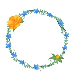 Postcard with a round frame of flowers vector image vector image