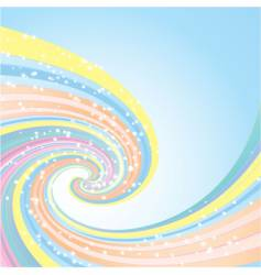 rainbow wave and stars vector image vector image