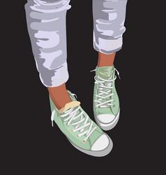 sport shoes mint colour on background vector image