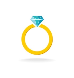 Wedding engagement ring simple color symbol with vector image