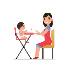 cartoon mother feeding baby vector image