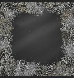 chalk christmas festive frame on blackboard vector image