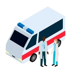Doctor and nurse near ambulance vector image vector image