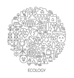 Ecology technology icons in circle - concept line vector