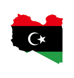 libya flag and map vector image vector image