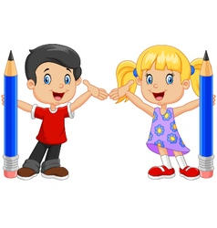 Little kids holding pencil isolated vector image vector image