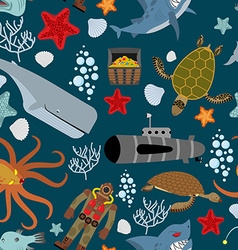 Marine seamless pattern Inhabitants of the ocean vector image