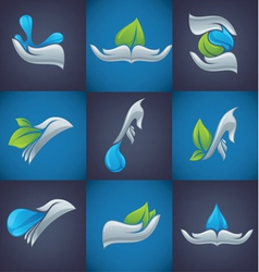 hands and nature symbols vector image vector image