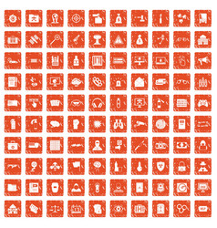 100 hacking icons set grunge orange vector image vector image