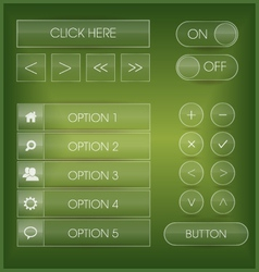 Green user interface web buttons and icons set vector image