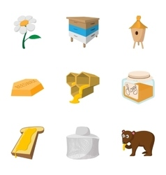 Honey production icons set cartoon style vector image vector image