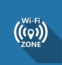wi-fi network flat icon with long shadow vector image