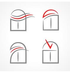 windows set emblem symbol element icons vector image