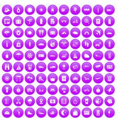 100 tourist trip icons set purple vector