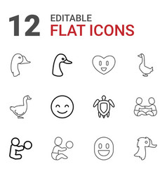 12 smiling icons vector