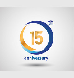15 anniversary design with blue and golden circle vector