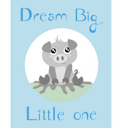 A piglet with baby blue background vector