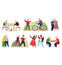 Active old people senior group activity diverse vector