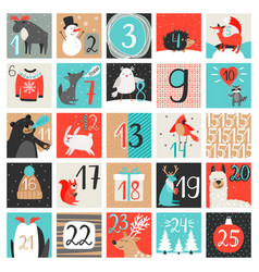 advent calendar december countdown calendar vector image