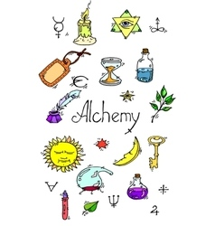 Alchemy symbols colored vector image