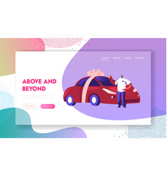 Automobile purchase website landing page man vector