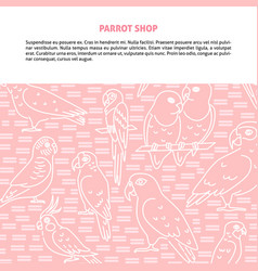 background with parrots in line style and place vector image