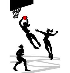 basketball sylhouette vector image