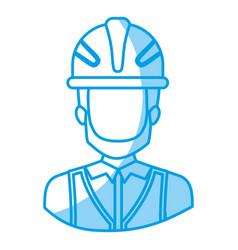 Blue silhouette with half body of faceless male vector