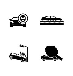 Car crashes simple related icons vector