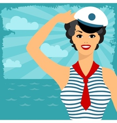 card with beautiful pin up sailor girl 1950s style vector image