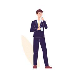 Cartoon businessman with flu or cold illness vector